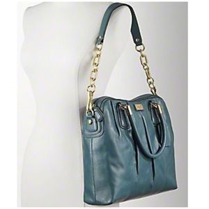 Green/Dark Teal Leather Coach Kristen Satchel